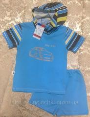 Футболка принт с капюшоном и шорты для мальчика