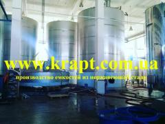 Tanks, capacities from stainless food steel