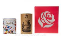 """Подаръчен комплект """"Роза"""" на 8 март (чай/кафе в картонена тръба)"""