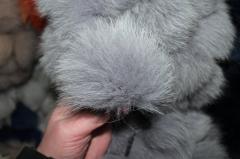 Меховой помпон из песца 15 см серый