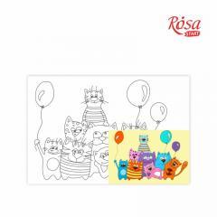 Холст на картоне с контуром Котики с шариками 20х30 см, GPA283133