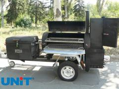 Smoker-trailer for barbecue, grilling and smoking