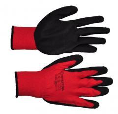 Перчатки красные вязаные синтетические с серым