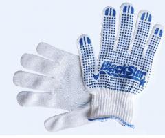 Перчатка Белая с ПВХ BlackStar плотная 7класс