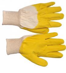 Перчатка стекольщика тканевая покрытая рифленым латексом на ладони (желтая) (ящик 120 пар) SP-0002W