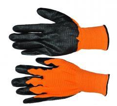 Перчатка стрейчевая оранжевая с черной ребристой заливкой Рубилет ПТ-6255
