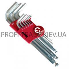 Набор Г-образных 6-гранных ключей с шарообразным наконечником, 9ед,1.5-10мм, Cr-V HT-0603