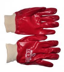 Перчатка маслостойкая х/б трикотаж покрытая PVC c вязаным манжетом (красная) (ящик 120пар) SP-0006W