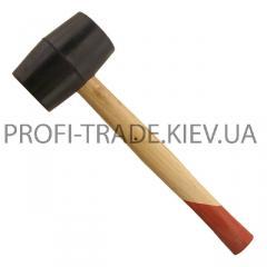 Киянка резиновая 350г 55мм, черная резина, деревянная ручка HT-0236