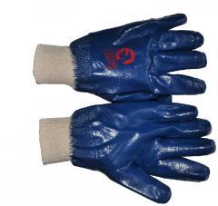 Перчатка маслостойкая х/б трикотаж покрытая нитрилом c вязаным манжетом 10.5 (синяя) SP-0137W