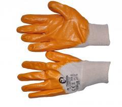 Перчатка х/б трикотаж покрытая нитрилом на ладони 8 (желтая) (120пар/ящ) SP-0108W