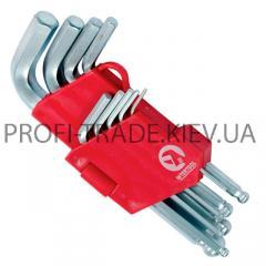 Набор Г-образных 6-гранных ключей с шарообразным наконечником, 9 ед,1.5-10мм,CrV, (60/10) HT-0605