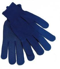 Перчатки нейлоновые с точкой (синие) (12/600шт)