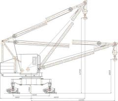 The crane manipulator of boom type on rail to the