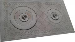 Плита чугунная печная с комфорками ПД-3Б (710 х