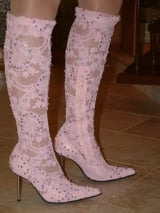 Boot wedding - Pink guipure with payetka
