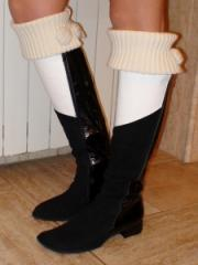 Footwear the boots combined with knitted fabric,