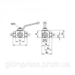 Шаровый кран блочный 3-х ходовой DN06 G1/4, тип L