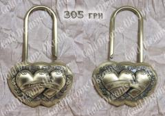 Love lock Two hearts, antique gold. Kiev