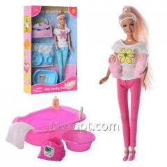 Кукла Defa 8213, 36шт, 29см,2-ое детей, 4см, ванночка,горшок,миска,2 цвета, в кор-ке, 32,5-20,5-6см