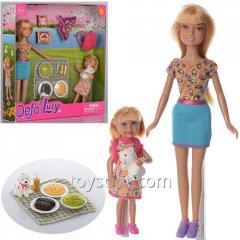 Кукла Defa 8282, 24шт, 22см, с дочкой 13см, пикник, Собачка, рюкзак, возд.змей, в кор-ке,25-25,5-5см