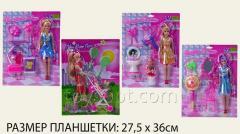Кукла типа Б 10100/6/7/8, 96шт/4, 4вида, с аксес на планшетке 27,5*36см