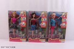 Кукла типа Барби CS699-12, 60шт/2, 3вид,собачк кушает/ходит в туалет,набор д/питомца,в кор.33*18*6