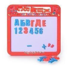 Досточка 0185 UК, 108шт, магнитная азбука рис, 2 в 1, русская