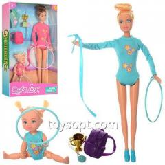 Кукла Defa 8353 гимнастка, дочь, рюкзак, обручи, лента, кубок, 2 вида, кор., 20,5-32-5 см.