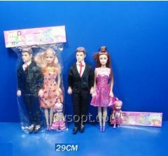 Кукла типа Барби 3391-3, 180шт/4, семья с ребенком 2 вида, в пакете 29см