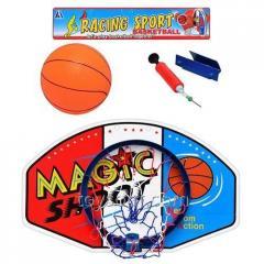 Баскетбольное кольцо M 1076, 36шт, щит пластик 59-38см, мяч резиновый имущество, в пакете