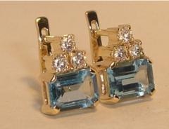 Серьги золотые, ювелирные украшения, ювелирные