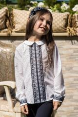 Детская белая блуза Леонтайн с кружевом в мелкий