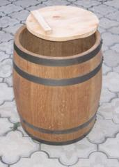 Round tub of a barrel form for salting and a