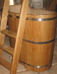 Fonts for a bath, saunas from an oak, an oak font