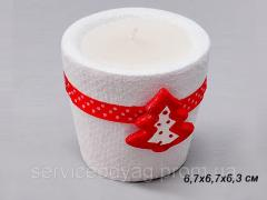 Candlestick with candle 6, 7X6, 7X6 cm, ceramics,