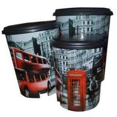 """Ведра с педалью 3 в 1 (6л,10л,16л) с рисунком Лондон автобус """"ELIF"""""""