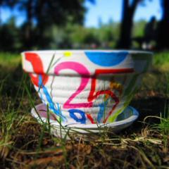 Керамический горшок для цветов ручной работы