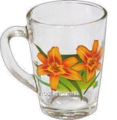 """Кружка стеклянная конус 300 гр. цветы """"HL""""..."""