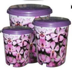 """Ведра с педалью 3 в 1 (6л,10л,16л) с рисунком Фиолетовые цветы """"ELIF"""""""