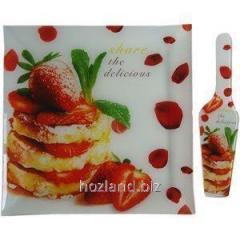 """Блюдо для торта квадратное 30.5 см +лопатка стеклянная Клубничный десерт """"Батлер"""""""