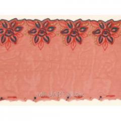 Кружево вышивка на сетке красное 044-19