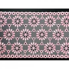 Кружево вышивка на сетке розовое 133-23
