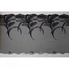 Кружево вышивка на сетке черное 048-19