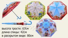 Зонт SN-002 D, 100шт, 3 вида, с рисунком, со свистком, в пакете