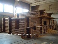 Wild felling. Construction of wooden houses