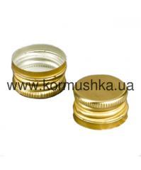 Колпачок алюминиевый 28мм x 18мм с резьбой золото