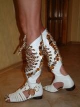 Летний высокий сандаль (РИМЛЯНКА), сапоги из белой