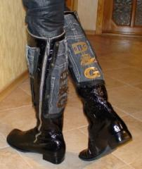 Boot-two snakes combined with jeans 2sm.podoshva.