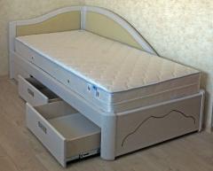 Кровать белая подростковая деревянная с ящиками